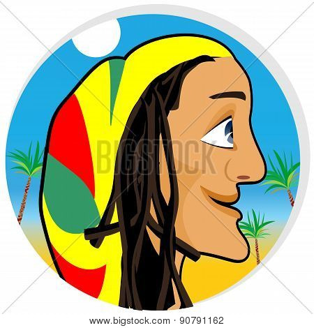smiling rastafarian looking forward