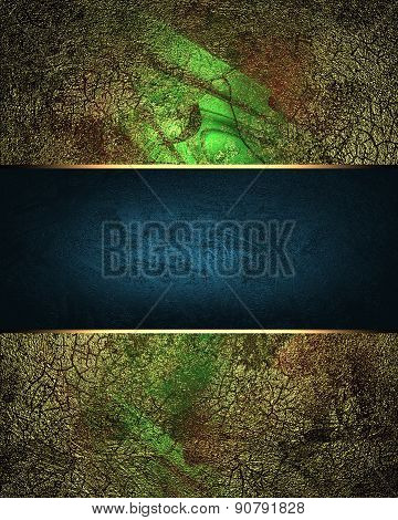 Grunge Green Background With Metal Plate. Design Template. Design Site