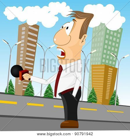 cartoon news reporter with microphone