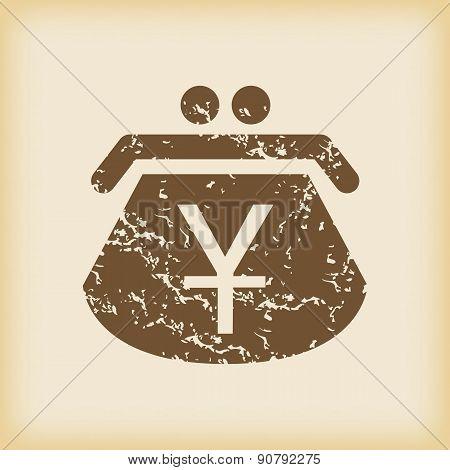 Grungy yen purse icon