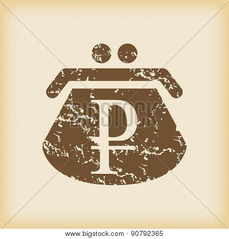 Grungy ruble purse icon