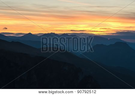 Mountain landscape at sunset.
