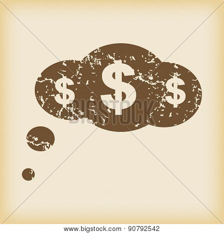 Grungy dollar thought icon