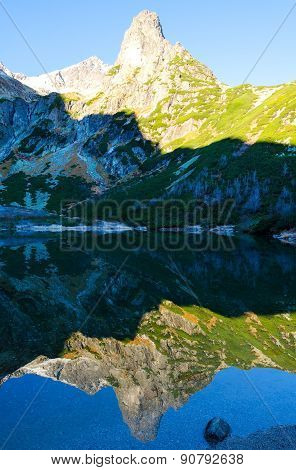 Mountain reflected in the lake.