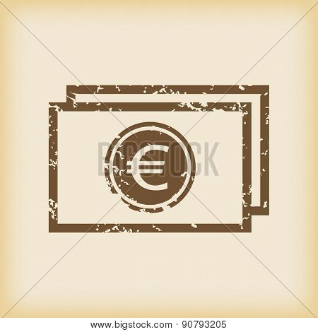 Grungy euro bill icon