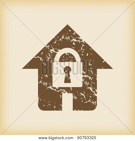 Grungy locked house icon