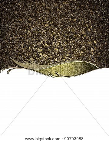 The Texture Of Golden Sand With Gold Pattern On White Background. Design Template. Design For Site