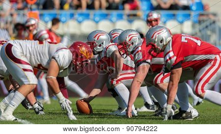 VIENNA, AUSTRIA - MAY 26, 2014: Team Austria face the Claremont McKenna Stags at the line of scrimmage.