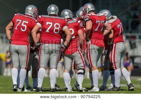 VIENNA, AUSTRIA - MAY 26, 2014: Team Austria in the huddle during the game.