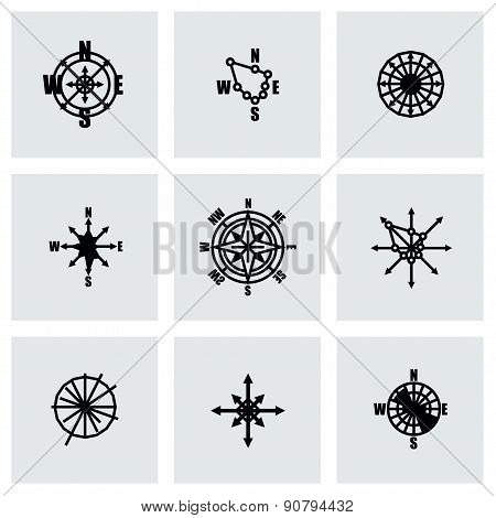 Vector Wind rose icon set