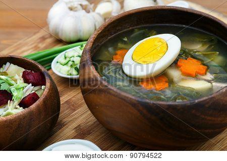 Traditional Russian sorrel soup