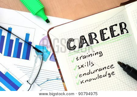 Notepad with word career concept