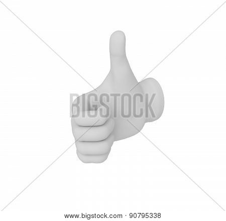 3D White Human Hand. Thumb Up Or Down. White Background.