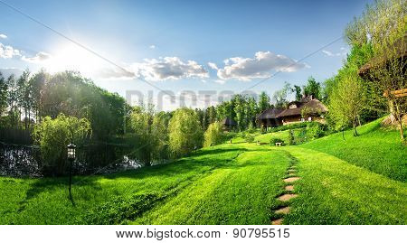 Houses of log and landscape