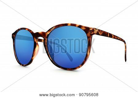 leopard sun glasses with blue lenses mirror
