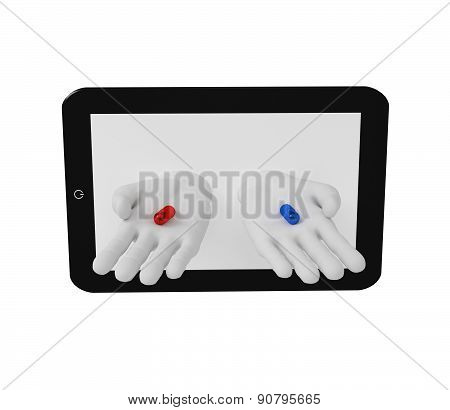 3D White Human Hands Holding Red And Blue Pills Of The Screen Laptop . White Background.