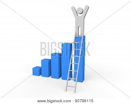 Man on the success ladder