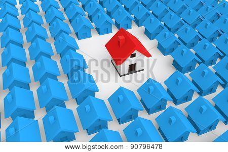 3d unique house among houses