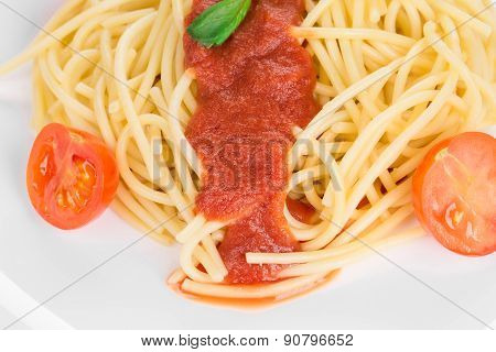 Spaghetti with tomato and basil.