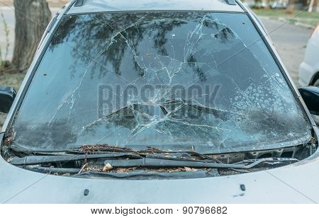 windshield of the burning car