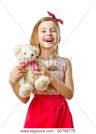 Little Smiling Cute Girl  With Toy In Her Hands