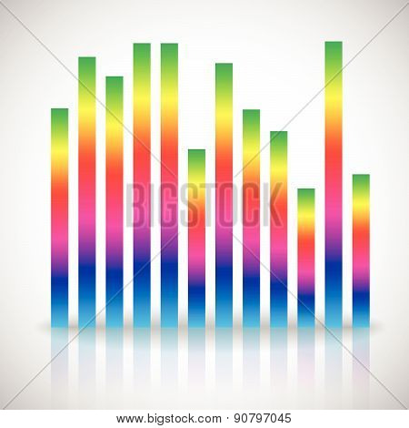 Single Colorful Eq, Equalizer Element Isolated On White Background. Vertical Bars For Channels, Freq