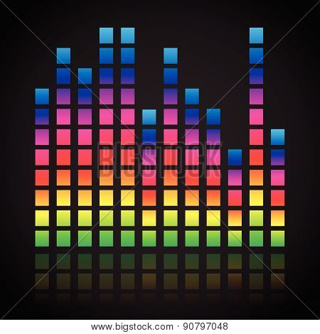 Single Colorful Eq, Equalizer Element Isolated On Black, Dark Background. Vertical Bars For Channels