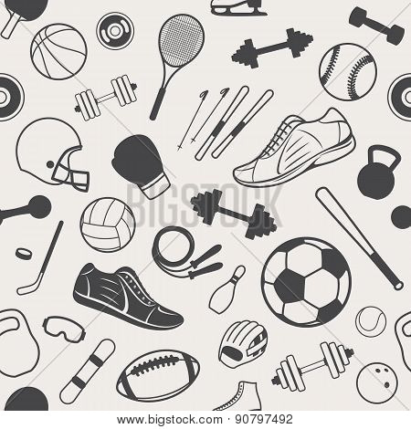 Sport Equipment Background, Seamles Pattern, Icons