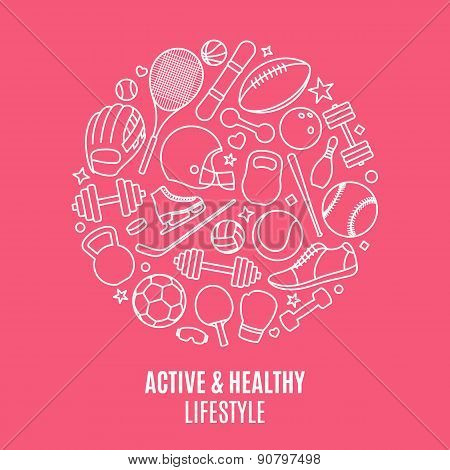 Sport Equipment Pattern, Label Template