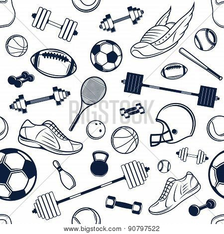 Vector Sport Equipment Black and White Background, Seamless, Pattern, Icons