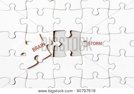 Missing Jigsaw Puzzle Piece Completing Word Brainstorm