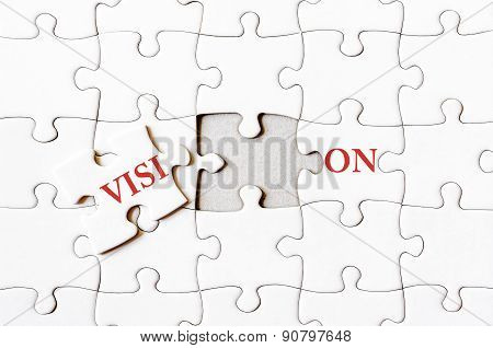 Missing Jigsaw Puzzle Piece Completing Word Vision