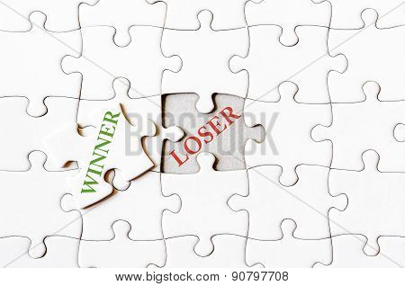 Missing Jigsaw Puzzle Piece With Word Winner