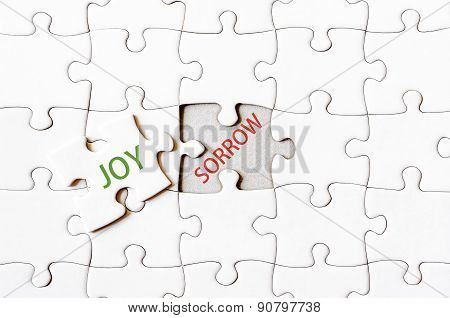 Missing Jigsaw Puzzle Piece With Word Joy