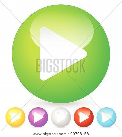 Birght And Glossy Play Buttons, Icons, Vector