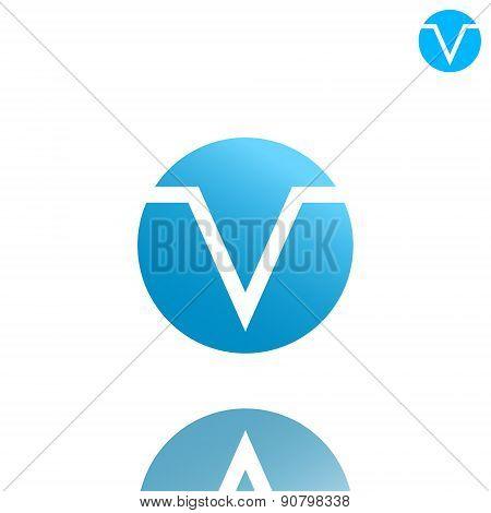 V Letter Logo Concept On Gradient Plate
