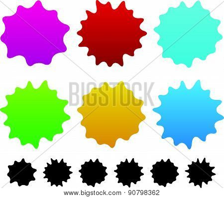 Colorful Ink Stain, Ink Spot Shapes. Vector