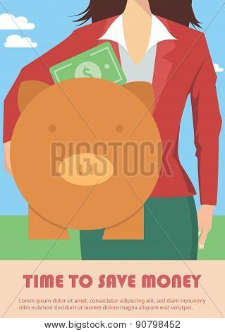 Businesswoman holding piggy bank, money concept
