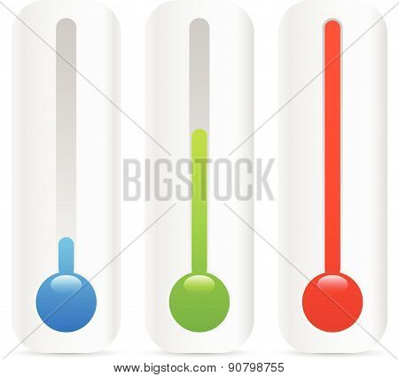 Rising Thermometer, Thermograph Set. Vector Elements. Temperature, Climate Concepts.