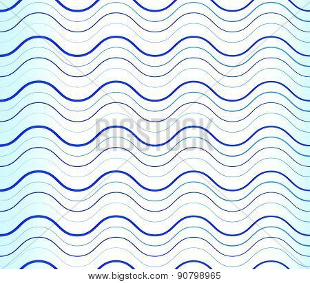 Abstract Background, Pattern With Wavy, Waving Blue Lines. Can Be Repeatable.