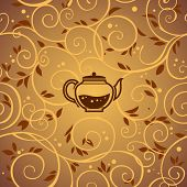 pic of kettles  - vector template with tea kettle and floral elements - JPG