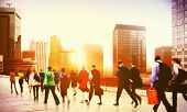 foto of hustle  - Commuter Business District Walking Corporate Cityscape Concept - JPG