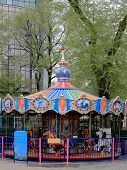 picture of carousel horse  - Trade fair carousel children colored toy horses - JPG