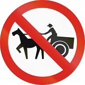 image of carriage horse  - Colombian sign prohibiting thoroughfare of horse drawn carriages - JPG
