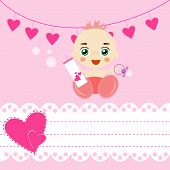 foto of pacifier  - Baby shower card with pacifier and bottle of milk - JPG