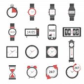 stock photo of analogy  - Time icon black set with digital and analog watch clock and stopwatch isolated vector illustration - JPG