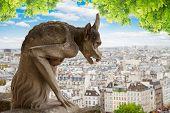 stock photo of gargoyles  - Gargoyle of Paris on Notre Dame Cathedral church at summer day - JPG