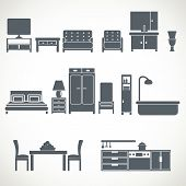 Постер, плакат: Home furniture design blackicons set