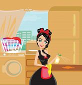 image of maids  - Sexy pinup style french maid cleans the kitchen  - JPG