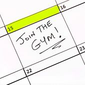 image of joining  - A date highlighted on a calendar to join the gym - JPG